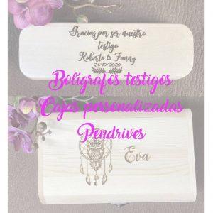 Bolígrafos para testigos; Cajas personalizadas; Pendrives